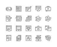Linha ícones do conteúdo web ilustração stock