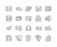 Linha ícones do correio ilustração stock