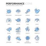 Linha ícones do desempenho ilustração royalty free