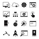 Linha ícones do desenvolvimento da Web Fotografia de Stock