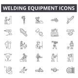 Linha ícones do equipamento de soldadura, sinais, grupo do vetor, conceito da ilustração do esboço ilustração stock