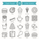 Linha ícones do fast food Fotografia de Stock