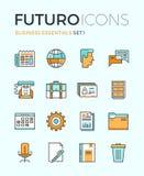 Linha ícones do futuro dos fundamentos do negócio Fotografia de Stock Royalty Free