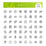 Linha ícones do golfe ajustados Imagens de Stock