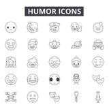 Linha ícones do humor para a Web e o projeto móvel Sinais editáveis do curso Ilustrações do conceito do esboço do humor ilustração do vetor