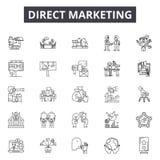 Linha ícones do marketing direto, sinais, grupo do vetor, conceito da ilustração do esboço ilustração do vetor