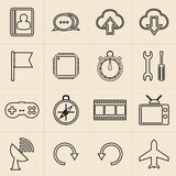 Linha ícones do mercado de Digitas ilustração do vetor