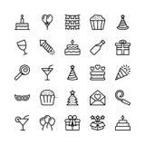 Linha ícones 19 do Natal, do Dia das Bruxas, do partido e da celebração do vetor ilustração do vetor