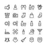 Linha ícones 20 do Natal, do Dia das Bruxas, do partido e da celebração do vetor ilustração royalty free