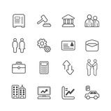 Linha ícones do negócio e da finança ajustados. Imagens de Stock
