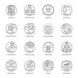 Linha ícones do negócio e da gestão de dados do vetor ajustados ilustração royalty free
