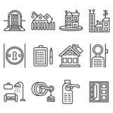 Linha ícones do preto do aluguel de casa Imagens de Stock Royalty Free