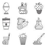 Linha ícones do preto do menu do café da manhã Fotos de Stock