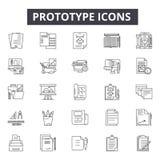 Linha ícones do protótipo, sinais, grupo do vetor, conceito linear, ilustração do esboço ilustração do vetor