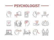 Linha ícones do psicólogo ajustados infographics conceptual Aconselhando a psicologia Sinal do vetor para gráficos da Web ilustração stock