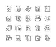 Linha ícones do relatório ilustração royalty free