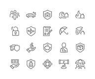 Linha ícones do seguro ilustração stock