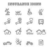 Linha ícones do seguro Foto de Stock Royalty Free