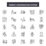 Linha ícones do sistema da conversação da energia, sinais, grupo do vetor, conceito da ilustração do esboço ilustração do vetor