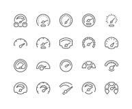 Linha ícones do velocímetro ilustração stock