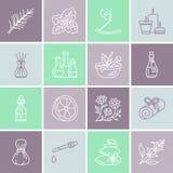 Linha ícones do vetor da aromaterapia dos óleos essenciais ajustados Elementos - difusor da terapia do aroma, queimador de óleo,  ilustração royalty free