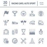 Linha ícones do vetor das corridas de carros Apresse auto sinais do campeonato - trilha, automóvel, piloto, capacete, bandeiras d Fotos de Stock Royalty Free