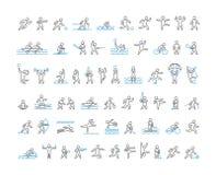 Linha ícones do vetor de desportistas Foto de Stock Royalty Free