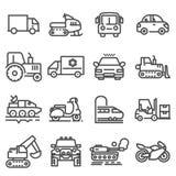 Linha ícones do vetor dos veículos ajustados ilustração do vetor