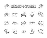 Linha ícones do vetor do sono ajustados Contém ícones como o despertador, cama, insônia, descanso, comprimidos de sono, Bell, vid imagens de stock