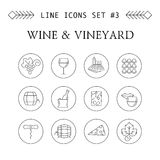 Linha ícones do vinho e do vinhedo Fotografia de Stock
