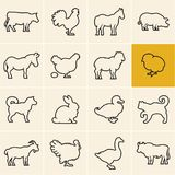 Linha ícones dos animais domésticos ajustados Animais de exploração agrícola Fotografia de Stock
