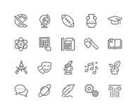 Linha ícones dos assuntos de escola ilustração royalty free