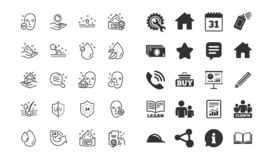Linha ícones dos cuidados com a pele Grupo de gota do creme, do soro e de gel ou de loção da cara Vetor ilustração stock