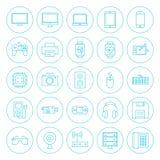 Linha ícones dos dispositivos da tecnologia do círculo ajustados Imagens de Stock