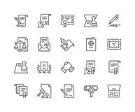 Linha ícones dos documentos jurídicos ilustração stock