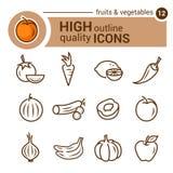 Linha ícones dos frutos Imagens de Stock