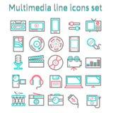 Linha ícones dos multimédios ajustados Fotos de Stock Royalty Free