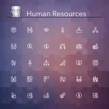 Linha ícones dos recursos humanos Fotos de Stock Royalty Free