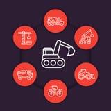 Linha ícones dos veículos da construção ajustados ilustração stock