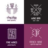 Linha ícones e logotipos do vinho do vetor Fotos de Stock