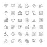 Linha ícones finanças Imagens de Stock Royalty Free