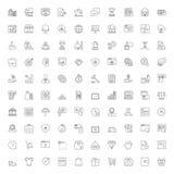 100 linha ícones Finanças e compra do negócio ilustração royalty free