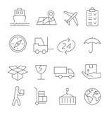 Linha ícones logística e de entrega Fotografia de Stock
