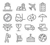 Linha ícones logística e de entrega Foto de Stock