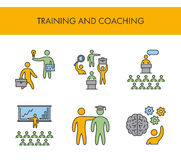 Linha ícones para treinar e treinar Grupo linear do vetor ilustração stock