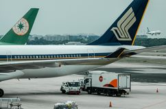 Linha aérea de Singapura no terminal de aeroporto 1 de Changi Fotografia de Stock