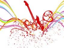 Linha abstrata da onda do arco-íris com música Foto de Stock Royalty Free