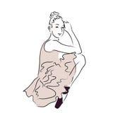 Linha abstrata ilustração da bailarina da arte | Pose bonita da jovem mulher como o desempenho clássico Imagens de Stock Royalty Free