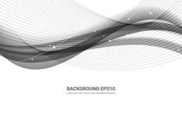 Linha abstrata preto e branco fundo liso da curva ilustração do vetor