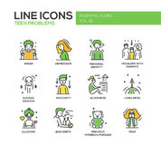 Linha adolescente ícones dos problemas do projeto ajustados Imagens de Stock Royalty Free